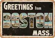 Metal Sign - Massachusetts Postcard - Greetings From Boston, Mass. [front] 3