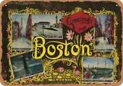 Metal Sign - Massachusetts Postcard - Greetings From Boston [front] 7