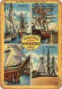 Metal Sign - Massachusetts Postcard - Greetings From New Bedford, Mass.