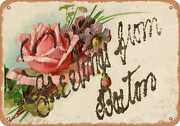 Metal Sign - Massachusetts Postcard - Greetings From Boston [front] 8