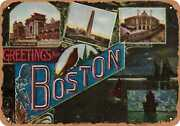 Metal Sign - Massachusetts Postcard - Greetings From Boston [front] 12