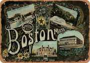 Metal Sign - Massachusetts Postcard - Greetings From Boston, Mass. [front] 4