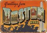 Metal Sign - Massachusetts Postcard - Greetings From Boston, Mass. [front] 5