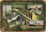 Metal Sign - Massachusetts Postcard - Greetings From Boston [front] 3