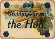 Metal Sign - Massachusetts Postcard - Greetings From The Hub. [front]