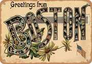 Metal Sign - Massachusetts Postcard - Greetings From Boston [front] 14