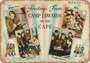 Metal Sign - Massachusetts Postcard - Greetings From Camp Edwards On The Cape
