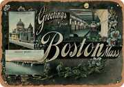 Metal Sign - Massachusetts Postcard - Greetings From Boston, Mass. [front] 6