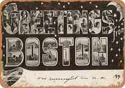 Metal Sign - Massachusetts Postcard - Greetings From Boston [front] 15