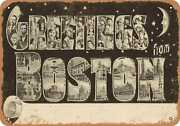 Metal Sign - Massachusetts Postcard - Greetings From Boston [front] 4