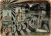 Metal Sign - Massachusetts Postcard - Greetings From Boston, Mass. [front]