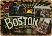Metal Sign - Massachusetts Postcard - Greetings From Boston [front] 5