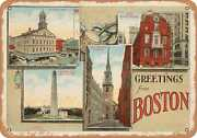 Metal Sign - Massachusetts Postcard - Greetings From Boston [front] 10