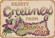 Metal Sign - Massachusetts Postcard - Hearty Greetings From Boston, Mass. [fron