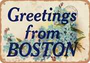 Metal Sign - Massachusetts Postcard - Greetings From Boston [front] 6