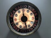1930s Rca Radio Tubes Tested Free Store Service Advertising Clock Light Huge 20