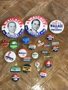 Lot Vintage Button And Advertising Wallace For President Lbj