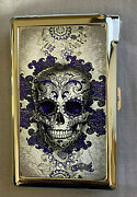 Purple And Gray Sugar Skull Cigarette Case With Lighter Id Holder Wallet