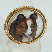 18k Yellow Gold Broach   Hand Painted Collie   Rope Boarder L-sd