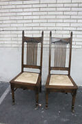 Very Unusual Antique Pair Of Hand Painted Gothic Oak Side End Accent Hall Chairs