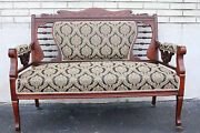 Gorgeous Arts And Crafts Cherry Settee On Casters New Upholstery 19th Century