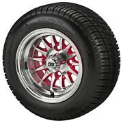4golf Cart 205/50-10 Tire On 10x7 Machined/red 14-spoke Wheel Free Freight