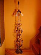 Gilded Tole Vtg Marbro Italian Floor Lamp With Leaves Design And Crystals 1940