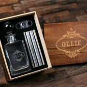Personalized Scotch Whiskey Decanter, Metal Flask Cigar Case And Cutter Box Set