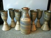 Vintage Renaissance Pottery Wine Goblets And 1-carafe Signed By Hair 1981