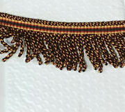 Lx10a Upholstery Trim 3 Inch Red Black And Gold Bullion Fringe Rayon Cotton 12 Yds