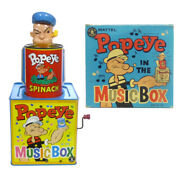 1957 Popeye Spinach Can Jack In The Box In Box Mattel Music/musical Toy Working