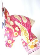 Horse Statue Artistic Painted Bust Pink Large Beautiful . Rare Decorative Art