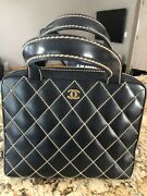 Wild Stitch Cc Logos Hand Bag Black Leather Vintage Authentic With Pouch
