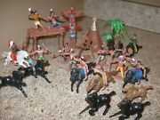 Vintage Lot Painted Plastic Celluloid Toy Soldiers- Cowboys Indians And Horsed