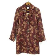 New Cabi Jacobean Floral Tapestry Coat Womens 10 Jacket Burgundy