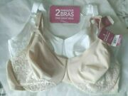 Olga 2 Pack Gentle Lift Underwire Bras Size 42d Style 5001 White Nude Color Nwt