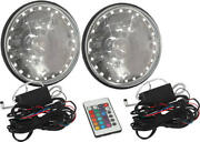 Ford 7 Inch Round White Diamond Rat Rod Headlights With Multi Color Led Halo
