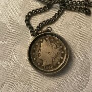 Antique Coin Necklace 1890 Nickle Real On 26 Chain