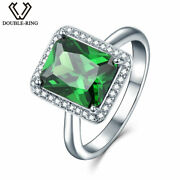 Emerald Green Gemstone Rings 925 Silver Lab Created Engagement Xmas Gift For Her