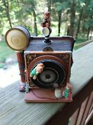 Old Fashioned Camera Style Key Wound Music Box Plays White Christmas