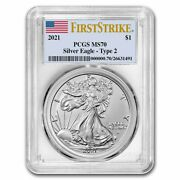 2021 American Silver Eagle Ms-70 Pcgs Firststrikeandreg Type 2