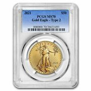 2021 1 Oz American Gold Eagle Ms-70 Pcgs Type 2