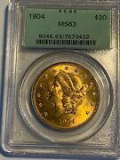 1904 20 Liberty Double Eagle Gold Coin - Pcgs Ms63 - Pcgs Priced At Book Today