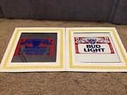 Vintage Budweiser And Bud Light -carnival Prize Glass Mirrors Pictures - Beer Sign