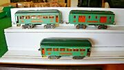 Lionel= Pre- War Standard Gage 332-339-341 Two Tone Green Pass Cars Nice