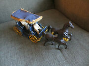 Vintage 50s Stanley Toys Cast Aluminum Fringed Roof Surrey Wagon And Lady And Driver