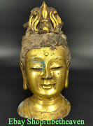 9.2andldquo Old Chinese Bronze 24k Gold Dynasty Palace Guanyin Goddess Head Sculpture