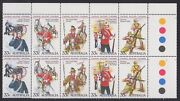 1985 Colonial Military Uniforms Gutter Strip Of 20, Mnh