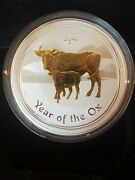 2009 Australia Perth Gilded Silver Lunar Series Ii Year Of The Ox With Coa Boxandnbsp
