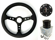 14 Black Steering Wheel W/ Pony Horn Button And Adapter For 1964-66 Ford Mustang
